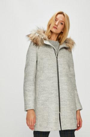 Palton gri elegant oversize cu inchidere cu fermoar si gluga prevazuta cu blanita decorativa Medicine Hand Made