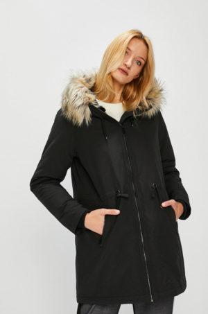 Palton stil parka negru oversize cu fermoar si gluga prevazuta cu blanita decorativa Medicine Hand Made