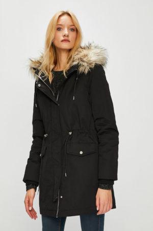 Palton negru oversize stil parka cu inchidere cu fermoar si gluga prevazuta cu blanita decorativa Medicine Hand Made