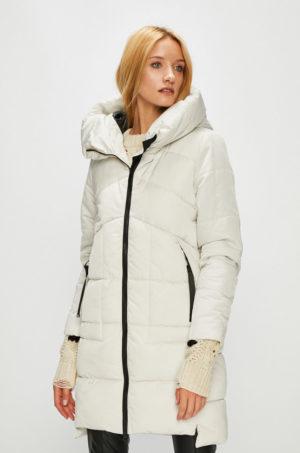 Palton lung imblanit de culoare alba elegant cu gluga nedetasabila pentru zile geroase de iarna Medicine Hand Made