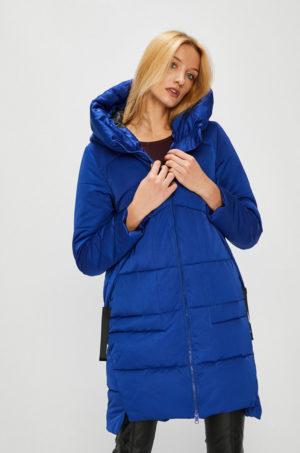 Palton lung imblanit de culoare albastru electric elegant cu gluga nedetasabila pentru zile geroase de iarna Medicine Hand Made