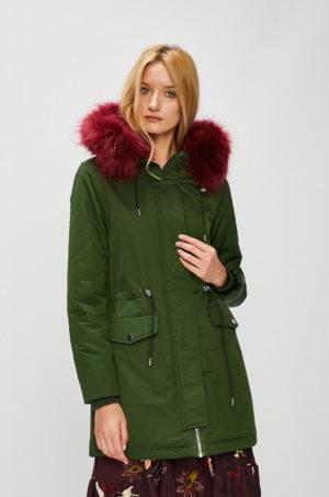 Palton verde kaki dama stil parka elegant cu blanita la gluga si snururi in talie Medicine Hand Made