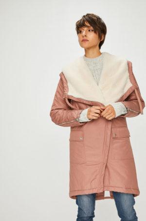Palton imblanit roz elegant din bumbac cu Gluga stransa cu snururi si incheiere cu fermoar Medicine Royal Purple