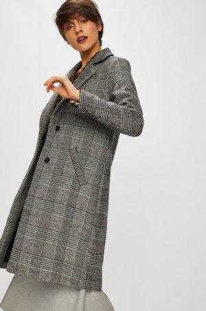 Palton oversize gri in carouri lung elegant de dama pentru office sau ocazie captusit pe interior Medicine Suffron Spice