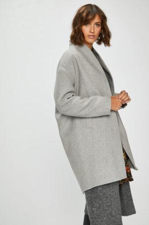 Palton oversize gri lung elegant de dama pentru office sau ocazie captusit pe interior Medicine Suffron Spice