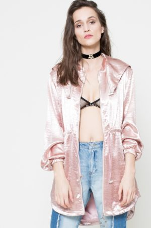 Palton subtire casual roz deschis cu gluga detasabila, snururi in talie si inchidere cu fermoar Missguided by Jourdan Dunn