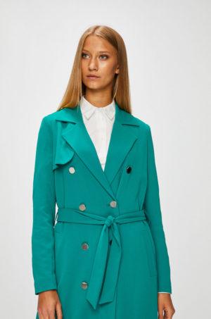 Palton elegant verde turcoaz cu nasturi si curea in talie, realizat dintr-un material calduros si confortabil Morgan