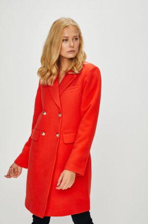 Palton rosu elegant de ocazie pentru femei, comod si calduros cu croiala dreapta si inchidere cu nasturi Morgan