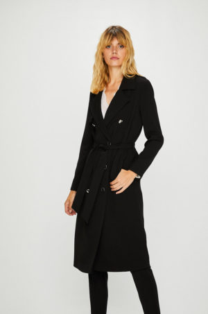 Palton dama lung elegant negru cu cordon in talie pe care sa il porti cu drag in zilele reci de iarna Morgan