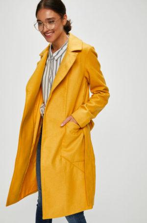 Palton elegant galben mustar cu croiala lunga pana la genunchi prevazut cu buzunare laterale si curea in talie Noisy May Dido