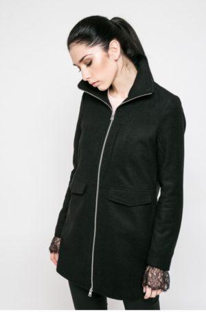 Palton negru drept de dama pentru iarna cu captuseala din poliester Noisy May Minna