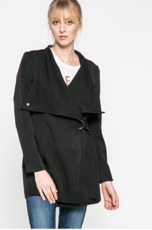 Palton dama scurt negru neizolat cu captuseala din tesatura neteda Noisy May Trial
