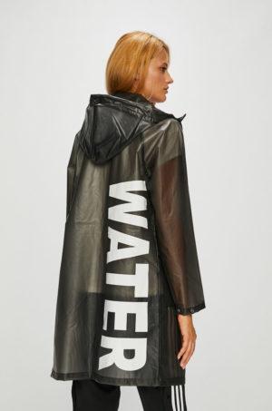 Palton dama de ploaie impermeabil cu gluga stransa cu snururi si maneca in raglan Noisy May