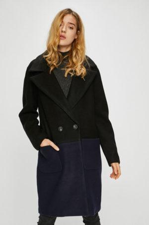 Palton dama elegant oversize bleumarin cu negru captusit pe interior intr-o croiala moderna ce tine de cald Only Christa