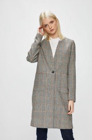 Palton office de ocazie gri lung in carouri accesorizat cu fir galben din material subtire Only Helen