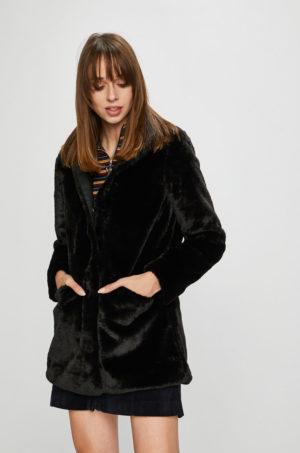Palton negru scurt elegant din blanita cu captuseala pe interior si inchidere cu cleme pentru confort ridicat Only Vida