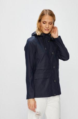 Palton bleumarin de ploaie cu gluga stransa cu snururi din poliuretan impermeabil Only