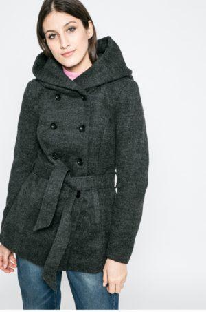 Palton elegant gri inchis cu gluga ce se inchide cu nasturi si cordon in talie perfect pentru iarna Only