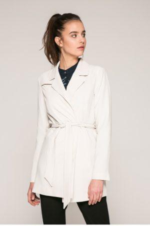 Palton dama alb scurt pana in talie pentry office cu cordon in talie si captuseala pe interior Only