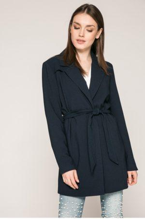 Palton bleumarin casual de zi Only confectionat din material neted cu Buzunare oblice si curea in talie
