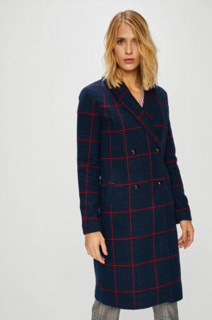 Palton office drept bleumarin dama in carouri confectionat din material cu lana si Incheiere cu nasturi Only