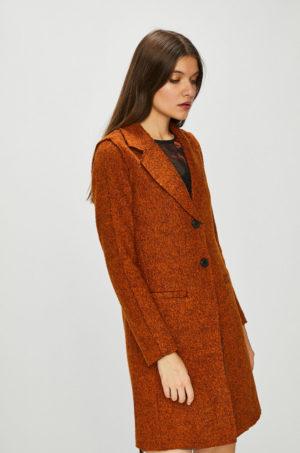 Palton dama elegant de ocazie maro caramiziu cu fason drept si buzunare laterale oblice Only