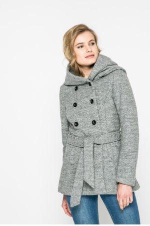 Palton gri scurt elegant cu gluga si captuseala prevazut cu curea in talie Only