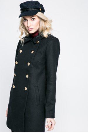 Palton negru scurt in stil army cu nastrui aurii realizat din testaura neteda foarte placuta la atingere Only