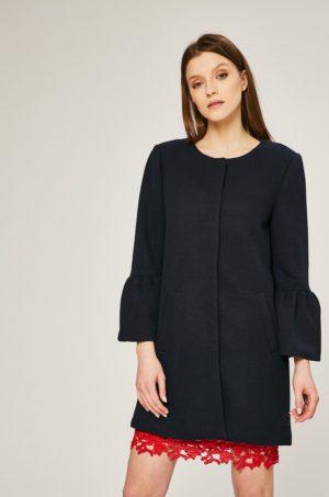 Palton scurt negru elegant oversize cu buzunare si maneci ridicate Only