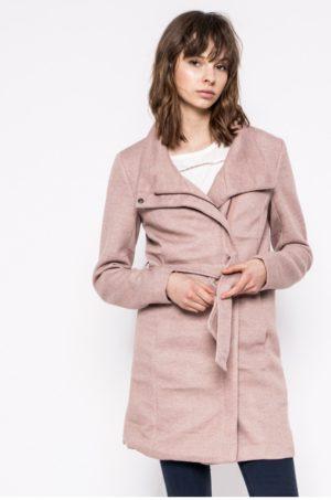 Palton dama scurt roz elegant cu croiala dreapta si Guler ridicat cu membrana pe fermoar Only
