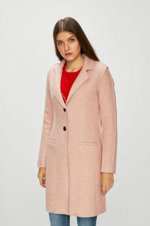 Palton elegant roz deschis pentru seara sau ocazie cu croiala dreapta si inchidere cu doi nasturi negri Only