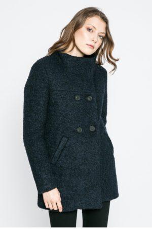 Palton bleumarin casual pentru femei cu inchidere cu doua randuri de nasturi Only