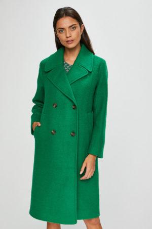 Palton verde lejer din lana de firma Pepe Jeans Edurne elegant cu capatuseala