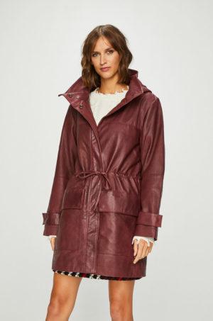 Palton dama din piele naturala de culoare visinie cu gluga detasabila si snururi in talie Pepe Jeans