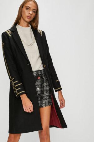 Palton negru de ocazie cu croiala dreapta si inchidere cu nasturi Pinko decorat cu aplicatii aurii