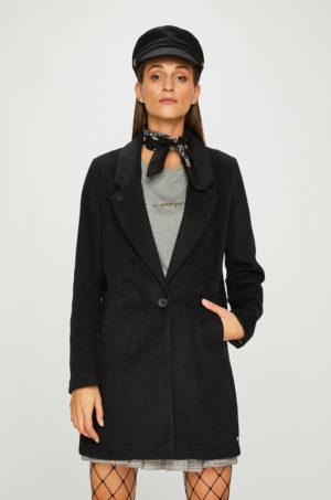 Palton dama negru drept elegant cu Incheiere cu nasture si rever adanc Scotch & Soda