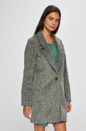 Palton gri drept dama cu lungime trei sferturi confectionat din material neted in combinatei cu lana Scotch & Soda