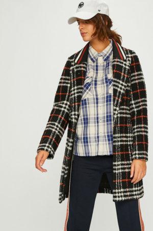 Palton calduros casual din material placut la atingere cu tesatura ornamentata si insertii de cusaturi decorative Scotch & Soda