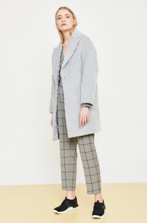 Palton dama lungi gri elegant de iarna Simple din material cu insertii decorative