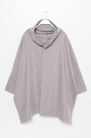 Palton dama gri din lana in stil oversize cu maneci trei sferturi si guler ridicat Simple