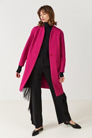 Palton elegant lung fucsia cu maneca larga perfect pentru office sau ocazii speciale Simple