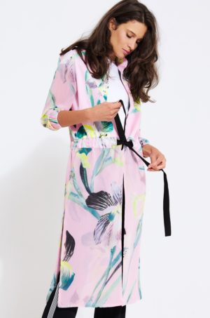 Palton lejer de dama roz pal cu imprimeuri decorative si snururi elegante in talie pentru toamna Simple