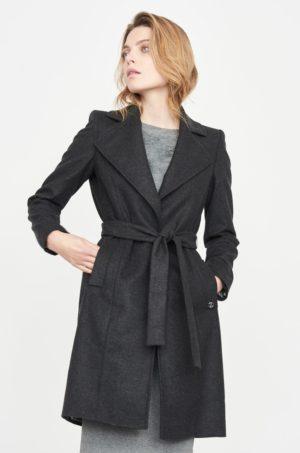 Palton dama casual de zi elegant gri inchis din material neted Simple cu fason lejer si curea in talie