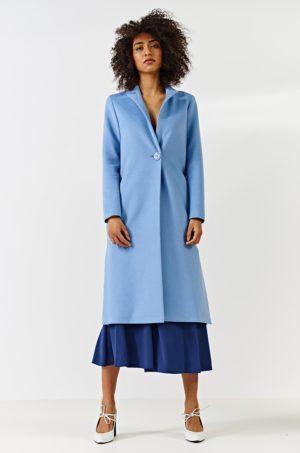 Palton dama albastru deschis elegant lung pana la genunchi cu inchidere cu un singur nasture Simple