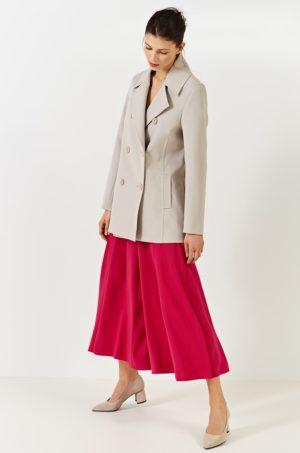 Palton scurt office bej elegant din tesatura neteda calduroasa si foarte fina la atigere Simple