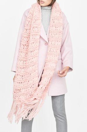 Palton dama lung usor largut de culoare roz deschis din material de lana captusit pe interior Simple