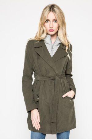 Palton dama gri casual de zi fara captuseala si fabricat din material neted Tally Weijl