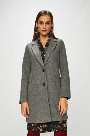 Palton lung gri elegant de seara pentru femei Tally Weijl din material neted cu buzunare laterale oblice
