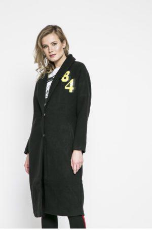 Palton negru oversize cu umerii lasati si lung pana la genunchi cu incheiere cu cleme si Detaliu decorativ in fata Tally Weijl