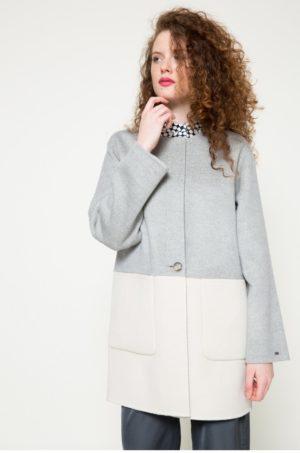 Palton dama oversize de firma Tommy Hilfiger – Palton Irma elegant din lana in nuante de bleu si alb